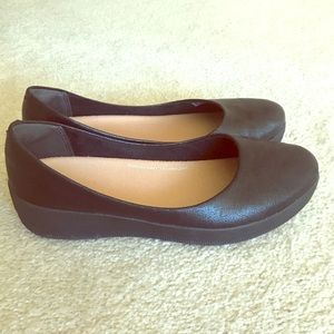 Fit flip- black flats, size 38